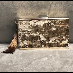 Painted Velvet w/ Rose Gold Sparks Clutch, NWT